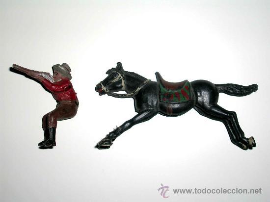 Figuras de Goma y PVC: Figura Oeste cowboy vaquero a caballo, fabricado en goma por la casa Reamsa, original años 50. - Foto 6 - 29095233
