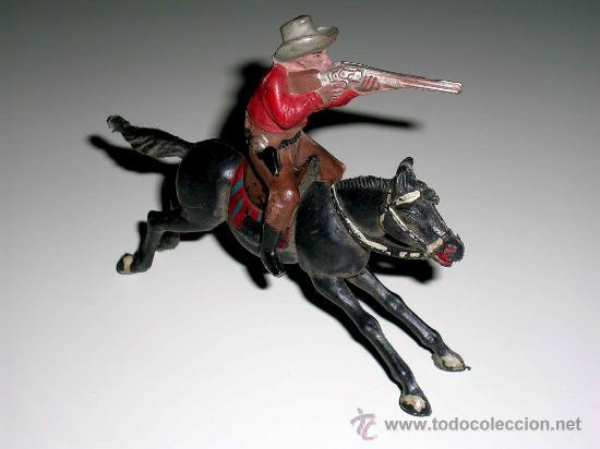 FIGURA OESTE COWBOY VAQUERO A CABALLO, FABRICADO EN GOMA POR LA CASA REAMSA, ORIGINAL AÑOS 50. (Juguetes - Figuras de Goma y Pvc - Reamsa y Gomarsa)