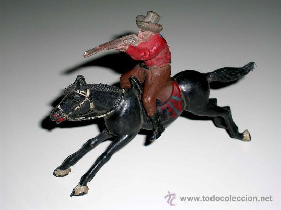 Figuras de Goma y PVC: Figura Oeste cowboy vaquero a caballo, fabricado en goma por la casa Reamsa, original años 50. - Foto 2 - 29095236