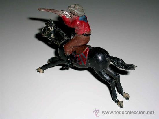Figuras de Goma y PVC: Figura Oeste cowboy vaquero a caballo, fabricado en goma por la casa Reamsa, original años 50. - Foto 3 - 29095236