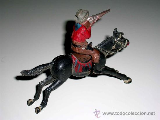 Figuras de Goma y PVC: Figura Oeste cowboy vaquero a caballo, fabricado en goma por la casa Reamsa, original años 50. - Foto 4 - 29095236