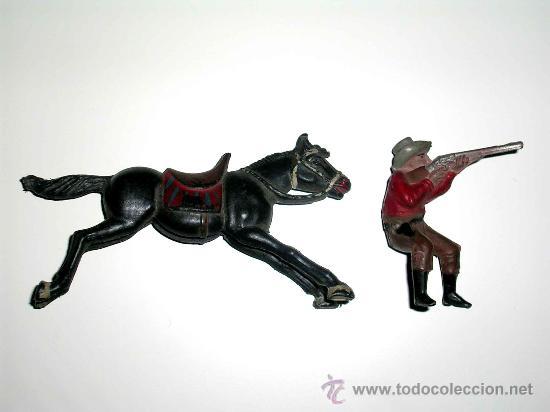 Figuras de Goma y PVC: Figura Oeste cowboy vaquero a caballo, fabricado en goma por la casa Reamsa, original años 50. - Foto 5 - 29095236