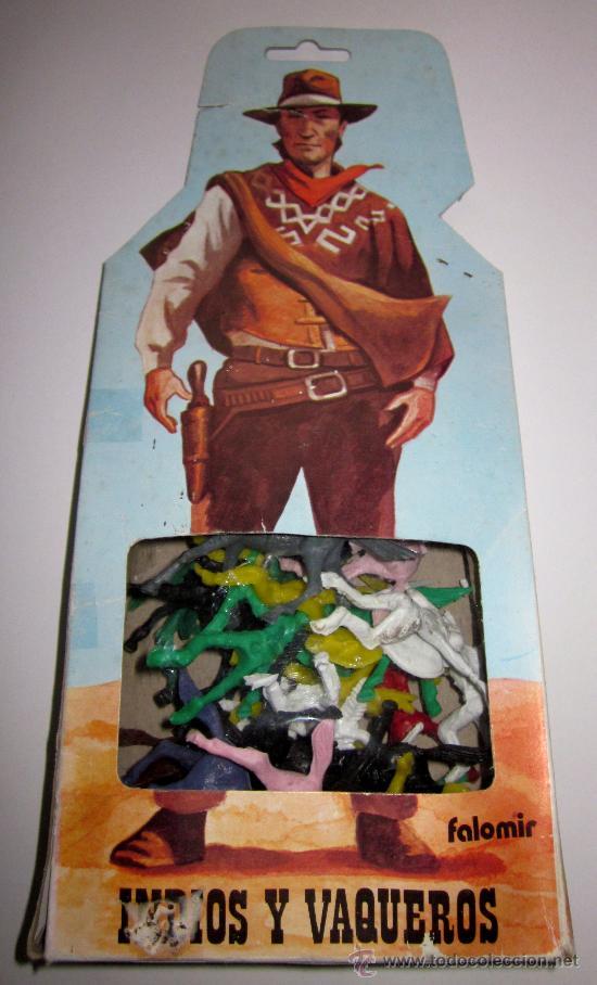 CAJA DE MUÑECOS DE PLASTICO - INDIOS Y VAQUEROS - REF 8 - FALOMIR (Juguetes - Figuras de Goma y Pvc - Otras)