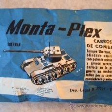 Figuras de Goma y PVC: MONTAPLEX - CARRO DE COMBATE SHERMAN - SOBRE ANTIGUO AÑO 1967 - SOBRE CERRADO. Lote 262264950