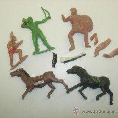 Figuras de Goma y PVC: LOTE 3 INDIOS + CABALLOS. Lote 30123582