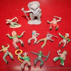 Figuras de Goma y PVC: LOTE 11 FIGURAS DE INDIOS Y VAQUEROS - AÑOS 60. Lote 30577769
