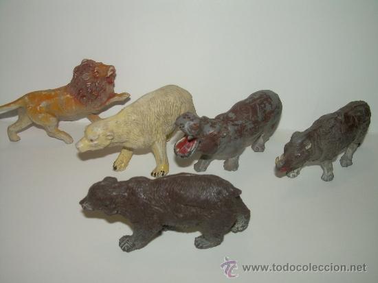 CINCO FIGURAS DE ANIMALES...AÑOS 50.....PECH..... (Juguetes - Figuras de Goma y Pvc - Pech)