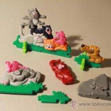 Figuras Kinder: FIGURAS KINDER SORPRESA, GATOS, PERRO, ELEFANTE. Lote 217783480