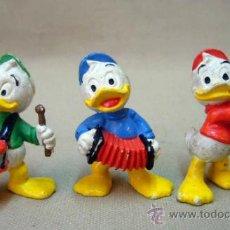 Figuras de Goma y PVC: 3 FIGURAS DE PVC, FABRICADA POSIBLEMENTE POR EURA, SOBRINOS PATO DONALD. Lote 32855709