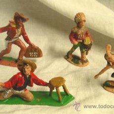 Figuras de Goma y PVC: LOTE DE 2 COWBOYS Y 2 INDIOS REMSA. Lote 32890075