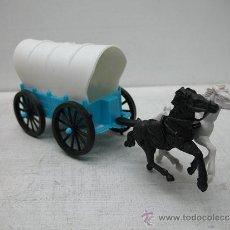 Figuras de Goma y PVC: JUGUETE DE PLÁSTICO - CARRUAJE VAQUERO CON DOS CABALLOS. Lote 33416154