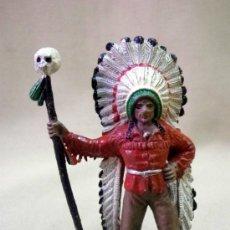 Figuras de Goma y PVC: FIGURA DE PLASTICO, JEFE INDIO, FABRICADO POR COMANSI. 1960S. Lote 33582163