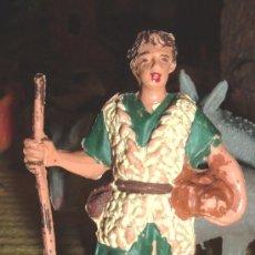 Figuras de Goma y PVC: ANTIGUO PASTOR CON CALABAZA, FABRICADO POR PECH HERMANOS PARA SU BELEN ORIGINAL, AÑOS 60. JECSAN. Lote 34624076
