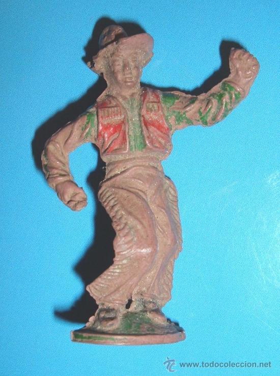 ANTIQUISIMO VAQUERO FABRICADO EN GOMA POR LAFREDO EN LOS AÑOS 50. GOMA JECSAN (Juguetes - Figuras de Goma y Pvc - Lafredo)