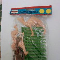 Figuras de Goma y PVC: BOLSA ZOO-JAULA Y ANIMALES . Lote 35566639