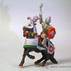 Figuras de Goma y PVC: LAFREDO. CABALLERO MEDIEVAL.CABALLO NEGRO. CON HACHA. PLÁSTICO. AÑOS 60. Lote 35727622