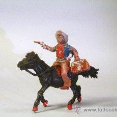 Figuras de Goma y PVC: LAFREDO. COWBOY-VAQUERO A CABALLO, CON PISTOLA Y MALETÍN. AÑOS 50. Lote 35729847
