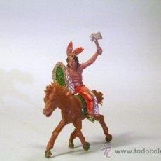 Figuras de Goma y PVC: LAFREDO. INDIO A CABALLO, CON HACHA AÑOS 50. Lote 35729965