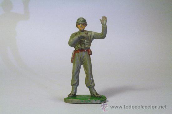 PECH. SOLDADO AMERICANO-MARINE OFICIAL ARTILLERÍA. GOMA. ORIGINAL AÑOS 50-60 (Juguetes - Figuras de Goma y Pvc - Pech)