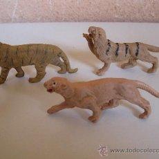 Figuras de Goma y PVC: LOTE DE 3 TIGRES DE PLÁSTICO DE LA MARCA PECH - AÑOS 60.. Lote 36120980