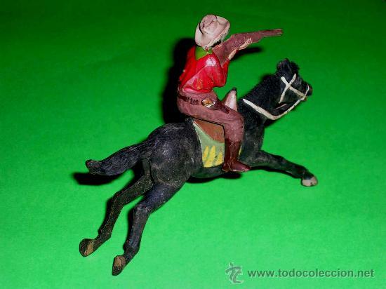 Figuras de Goma y PVC: Figura Oeste cowboy vaquero a caballo, fabricado en goma por la casa Reamsa, original años 50. - Foto 2 - 36382805