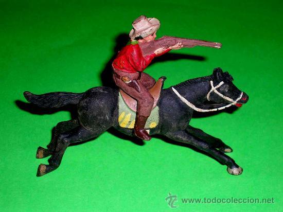 Figuras de Goma y PVC: Figura Oeste cowboy vaquero a caballo, fabricado en goma por la casa Reamsa, original años 50. - Foto 3 - 36382805