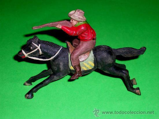 Figuras de Goma y PVC: Figura Oeste cowboy vaquero a caballo, fabricado en goma por la casa Reamsa, original años 50. - Foto 4 - 36382805