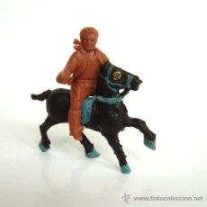 Figuras de Goma y PVC: SOTORRES JINETE MARRON Y CABALLO ALCA-CAPELL REF. 2831. Lote 37175960