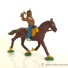 Figuras de Goma y PVC: ALCA CAPELL INDIO HACHA+ CABALLO MARRON REF.2740. Lote 27083052