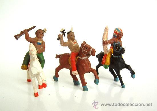 TRES INDIOS A CABALLO ALCA-CAPELL (Juguetes - Figuras de Goma y Pvc - Capell)