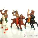 Figuras de Goma y PVC: TRES INDIOS A CABALLO ALCA-CAPELL. Lote 158674252