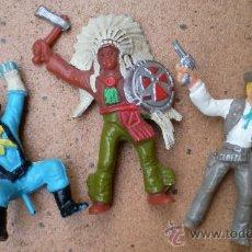 Figuras de Goma y PVC: LOTE 3 FIGURAS COMANSI, INDIO, SOLDADO Y VAQUERO. Lote 38005418