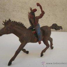 Figuras de Goma y PVC: ANTIGUA FIGURA ORIGINAL DE GOMA - INDIO A CABALLO - JECSAN - AÑOS 50.. Lote 98870262