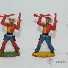 Figuras de Goma y PVC: 4 VAQUEROS DE SOTORRES, SOMBRERO DESMONTABLE, FABRICADOS EN PLASTICO, MIDEN 6,5 CMS.. Lote 38259320