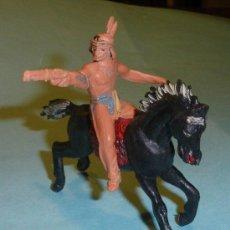 Figuras de Goma y PVC: JECSAN - FIGURAS DE PLASTICO AÑOS 70 - INDIO A CABALLO 65 MM. Lote 38695260