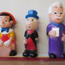 Figuras de Goma y PVC: LOTE 3 MUÑECOS DE GOMA PINOCHO GEPETTO Y PEPITO GRILLO. Lote 39079729