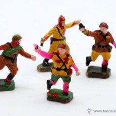 Figuras de Goma y PVC: 4 SOLDADOS MONTAPLEX MONTA-PLEX REPINTADOS AÑOS 60. Lote 39310322
