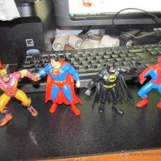 Figuras de Goma y PVC: LOTE DE CUATRO FIGURAS DE PVC DE SUPERHEROES SUPERMAN BATMAN SPIDERMAN Y OTRO COMICS SPAIN. Lote 39463826