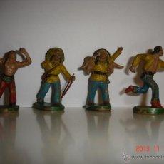 Figuras de Goma y PVC: FIGURAS 4 INDIOS DE STARLUX. Lote 40386619