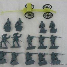 Figuras de Goma y PVC: 14 SOLDADOS DE PLASTICO GUERRA CIVIL AMERICANA (DE CHINA) ESCALA 1/35 O 1/32 + 1 LIMBER CON CAÑON. Lote 41106211