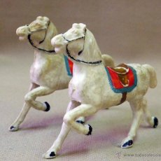 Figuras de Goma y PVC: FIGURA DE PLASTICO, CABALLOS DE TIRO, CARRETA, FABRICADO POR REAMSA. Lote 42474745