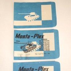 Figuras de Goma y PVC: MONTAPLEX - 3 SOBRES SHERMAN VACIOS DEFECTO IMPRESIÓN - RAROS - RAREZA - SOBRE ANTIGUO AÑO 1967. Lote 42874600