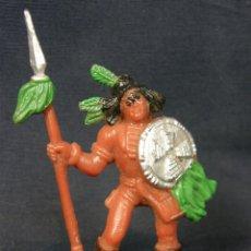 Figuras de Goma y PVC: INDIO CON LANZA PLUMAS ESCUDO COMANSI Nº 14 PENACHO BOTAS. Lote 44086559