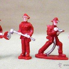 Figuras de Goma y PVC: 4 FIGURAS DE PLASTICO, BOMBEROS, QUIOSCO, 5,5 CM.. Lote 44270217