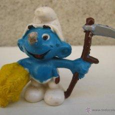 Figuras de Goma y PVC: PITUFO GRANJERO - FIGURA DE PVC.. Lote 44968681