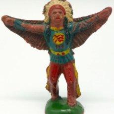 Figuras de Goma y PVC: JEFE INDIO REAMSA GOMA ALAS ÁGUILA AÑOS 50. Lote 45051503