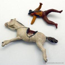 Figuras de Goma y PVC: VAQUERO A CABALLO PECH HERMANOS GOMA AÑOS 50. Lote 45051705