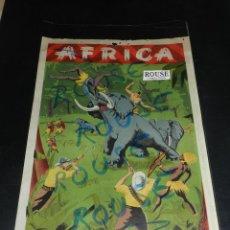 Figuras de Borracha e PVC: (M) ANTIGUO CARTEL PUBLICITARIO AFRICA SALVAJE !!!!! TARZAN , NEGROS CAZADORES. REVERSO PUBLICITARIO. Lote 45069255