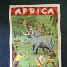Figuras de Borracha e PVC: CARTEL DOBLE DE PUBLICIDAD ARCLA - AFRICA SALVAJE AÑOS 50 - VER LAS DOS CARAS. PERFECTO. Lote 45091270