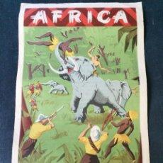 Figuras de Borracha e PVC: CARTEL DOBLE DE PUBLICIDAD ARCLA - AFRICA SALVAJE AÑOS 50 - CON TEXTO POR DETRAS - PERFECTO. Lote 46671826